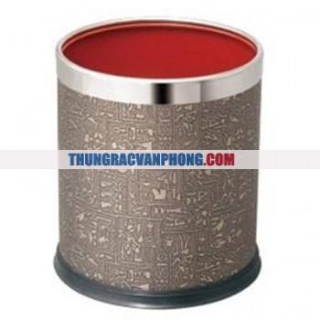 Thùng rác tròn kim loại bọc da dùng trong văn phòng A36-D806