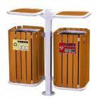 Thùng đựng rác đôi 2 ngăn bằng gỗ trong công viên A-78Q
