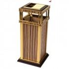 Thùng rác inox mạ vàng in giả gỗ cao cấp TLJA19B