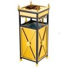 Thùng rác inox mạ vàng có gạt tàn thuốc lá hình vuông TLJA25C